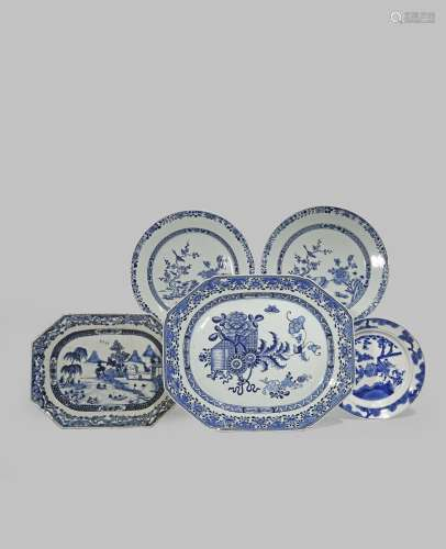 FIVE CHINESE BLUE AND WHITE DISHES 18TH CENTURY One Kangxi, painted with a scene of two warriors