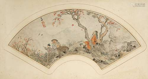 A CHINESE PAINTED PAPER FAN PANEL QING DYNASTY Depicting a scholar and two farmers in a