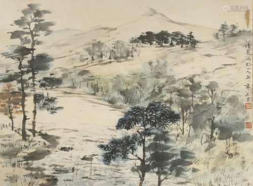 ZHANG QIAN YING (1913-2003) SCOTTISH LAKESIDE SCENE 1958 Ink and pigments on paper, depicting