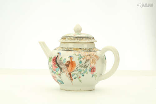 A CHINESE FAMILLE ROSE 'BIRDS' TEAPOT AND COVER. Qing Dynasty, Yongzheng era. Decorated to the