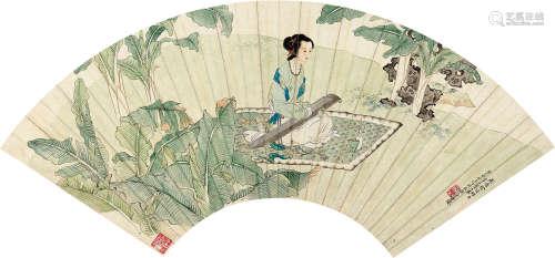 徐操(1899~1961) 1941年作 蕉下抚琴 镜心 纸本
