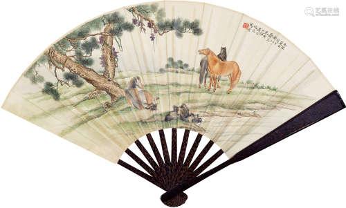 马晋(1900~1970)  朱益藩(1861~1937) 1925年作 松溪三骏并行书诗 成扇 纸本