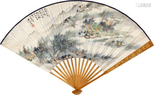 吴琴木(1894~1953)  钱崇威(1870~1969) 1947年作 山雨欲来并行书文 成扇 纸本