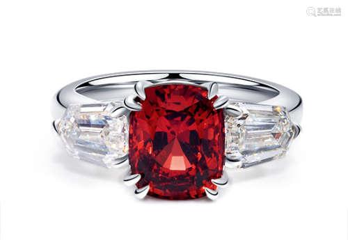 3.68克拉坦桑尼亚尖晶石配钻石戒指,未经加热