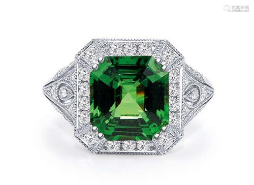 4.09克拉沙弗来石配钻石戒指