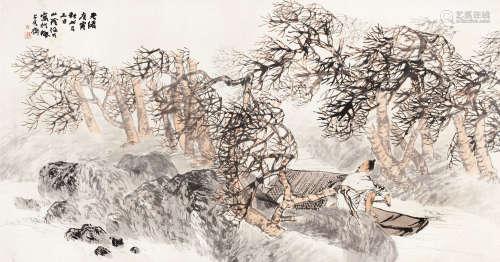 任伯年(1840~1896) 1890年作 江陵归棹 横批 纸本