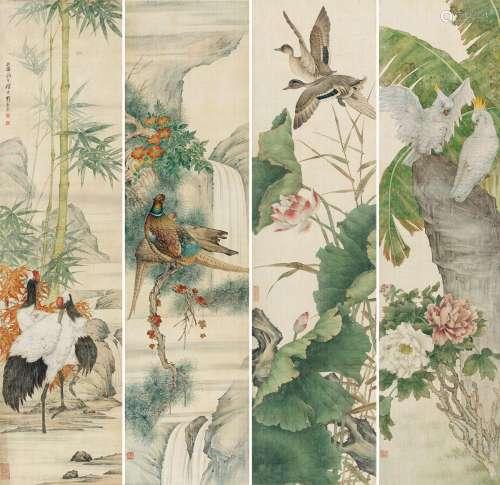 刘奎龄(1885~1967) 1933年作 花卉幽禽 四屏 镜心 绢本