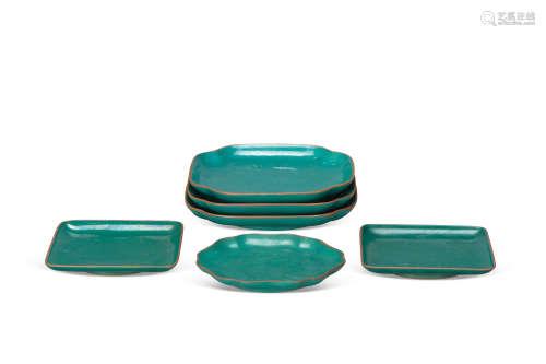 晚清民国 紫砂绿釉盘(6块)