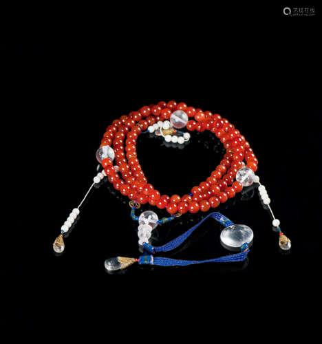 当代 红玛瑙串砗磲108多宝朝珠(附证书)