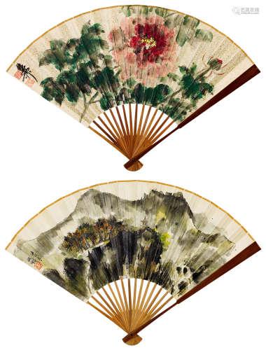 程十发(1921~2007)  谢稚柳(1910~1997) 山水 花卉 成扇 设色纸本