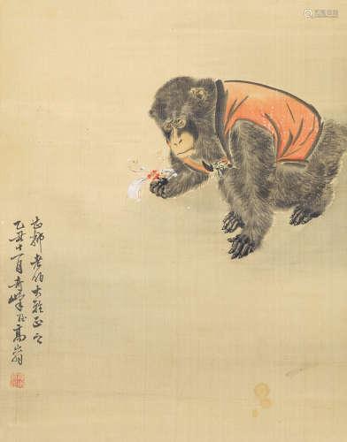 高奇峰(1889~1933) 灵猴图 立轴 设色绢本