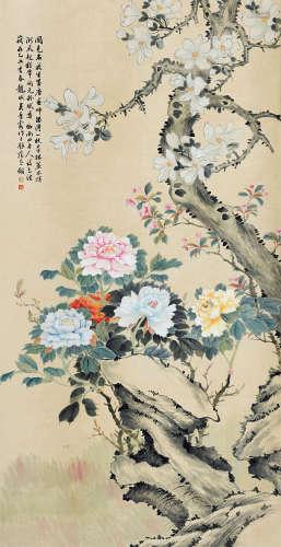 吴青霞(1910~2008) 富贵图 立轴 设色纸本