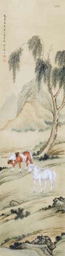 马晋(1900~1970) 春郊双骏图 屏轴 设色纸本