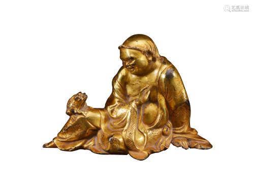 铜鎏金刘海戏金蟾造像 清代
