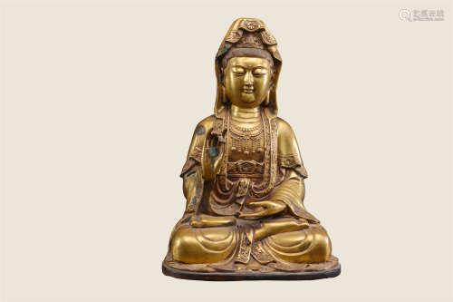 铜胎观音菩萨造像
