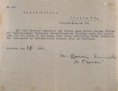"""高尔基(1868~1936) 1927年作 高尔基""""十月革命""""十周年之际亲笔双语签名打印信件"""