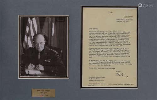 艾森豪威尔威尔(1890~1969) 1963年作 美国总统艾森豪威尔威尔亲笔签名致首任美国国家安全顾问的有关中国问题的信件