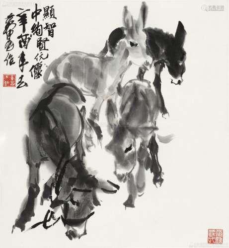 黄胄(1925-1997) 四驴图 镜心 水墨纸本