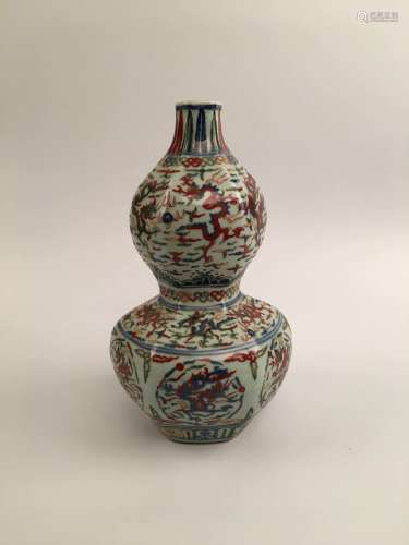 Chinese Wucai Double Gourd Porcelain Vase