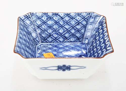 A JAPANESE BLUE AND WHITE PORCELAIN SQUARE PLATE.THE BASE MARKED WITH KU SAN YAO BLUE THREE CHARACTERS.C299.