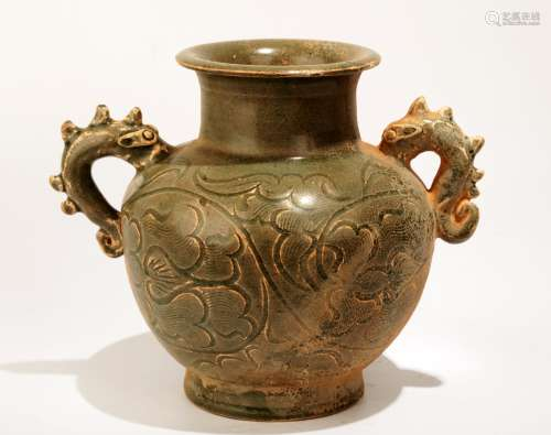 CHINESE GREEN-GLAZE CARVED CELADON JAR WITH TWO DRAGON