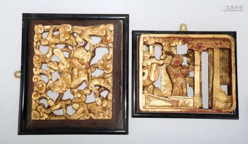 (2)   A PAIR OF CHINESE WOOD PLAQUES.M023.