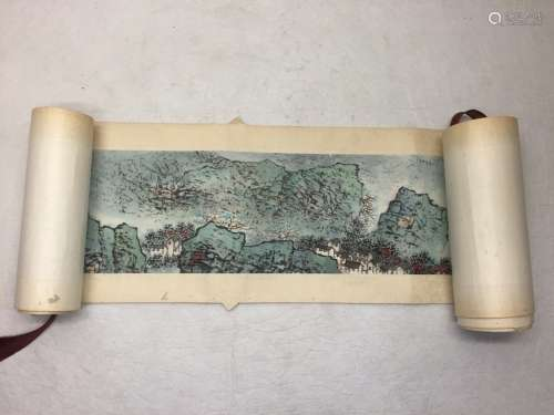 ATTRIBUTED AND SIGNED WU CHENGKAI. A INK AND COLOR ON PAPER HANGING SCROLL PAINTING. H237.