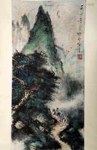 SIGNED LI XIONGCAI (1910-2001). A INK AND COLOR ON PAPER HANGING SCROLL PAINTING. H275.