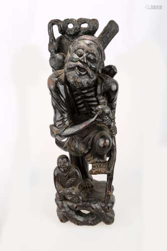 A CHINESE QING DYNASTY JINSHAN WOOD BODHIDHARMA CARVINGS.M027.