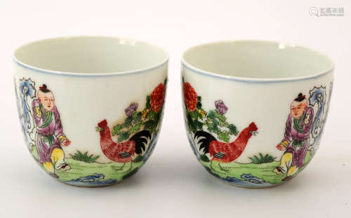 (2)   A PAIR OF FAMILLE ROSE CHICKEN CUPS.QIANGLONG SIX-CHARACTER FANGGU SEAL MARK.