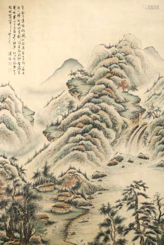 SIGNED PU RU (1896-1963).A INK AND COLOR ON SILK HANGING SCROLL PAINTING. H206.