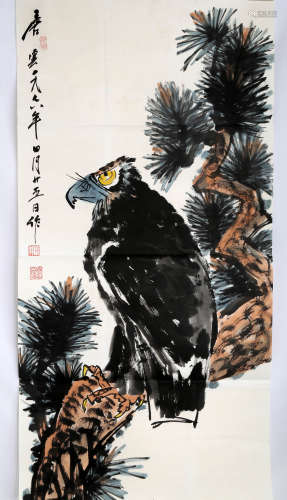 SIGNED TANG YUN (1910- ). A INK AND COLOR ON PAPER HANGING PAINTING. H521.