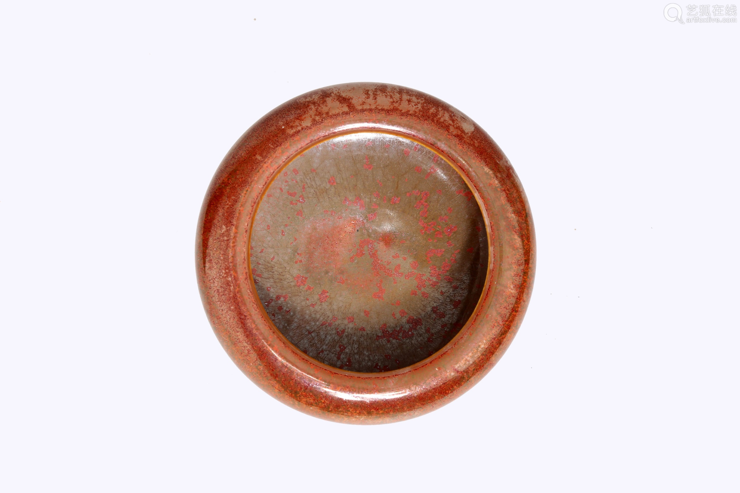 A COWPEA RED GLAZE PORCELAIN BRUSHWASHER.THE BASE MARKED WITH CHANG FENG XUAN ZHEN WAN QI BLUE SIX-CHARACTER.C290.