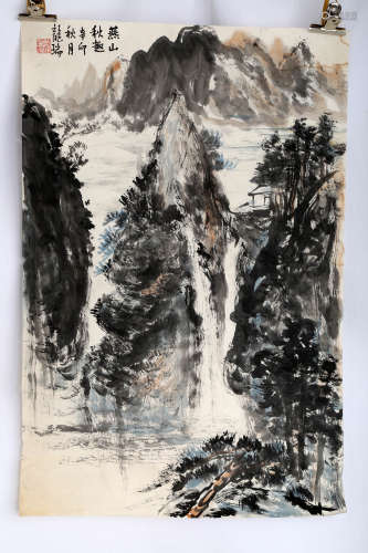 SIGNED LONG RUI (1946- ). A INK AND COLOR ON PAPER PAINTING.H530.