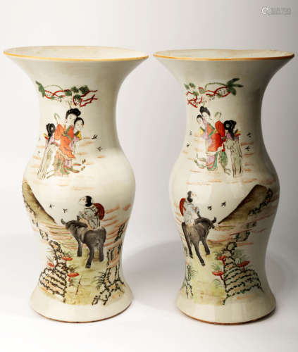 (2) A PAIR OF FAMILLE ROSE VASES.C073.