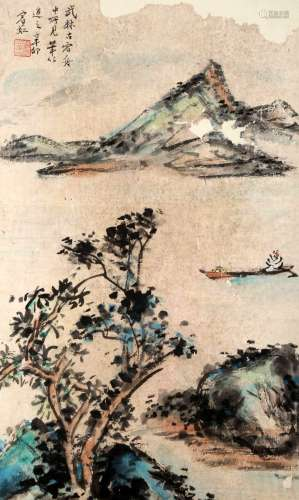 SIGNED HUANG BINHONG (1865-1955). A INK AND COLOR ON PAPER HANGING SCROLL PAINTING. H270.