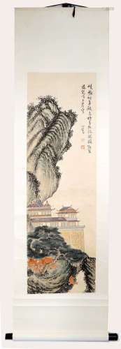 SIGNED PU XINYI(1896-1963). A INK AND COLOR ON PAPER HANGING SCROLL PAINTING.H513.