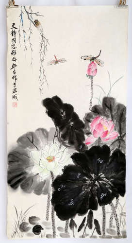 SIGNED LOU SHIBAI (1918-2010). A INK AND COLOR ON PAPER HANGING SCROLL PAINTING.H524.