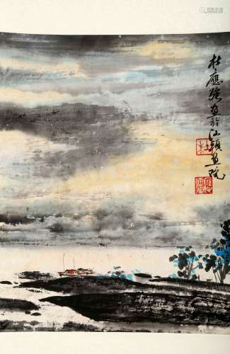 ATTRIBUTED AND SIGNED DU YINGQIANG (1939- ). A INK AND COLOR ON PAPER HANGING SCROLL PAINTING. H265.