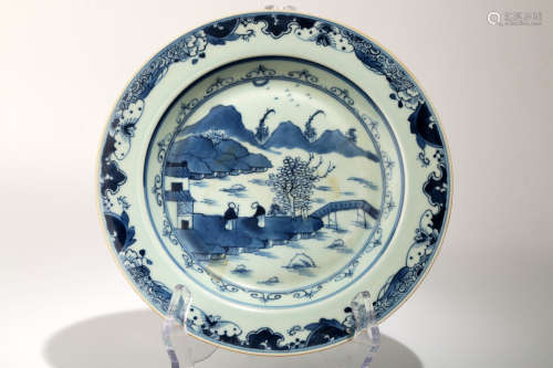 A BLUE AND WHITE DISH WITH THE LANDSCAPE SCENERY