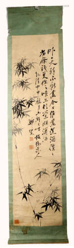 SIGNED ZHENG BANQIAO. A INK AND COLOR ON PAPER HANGING SCROLL PAINTING.H505.