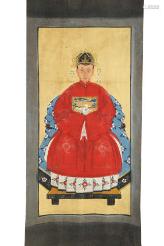 AN FINE HAND MADE OIL PAINTING WITH CHINESE WOMEN OFFICIAL.H554.