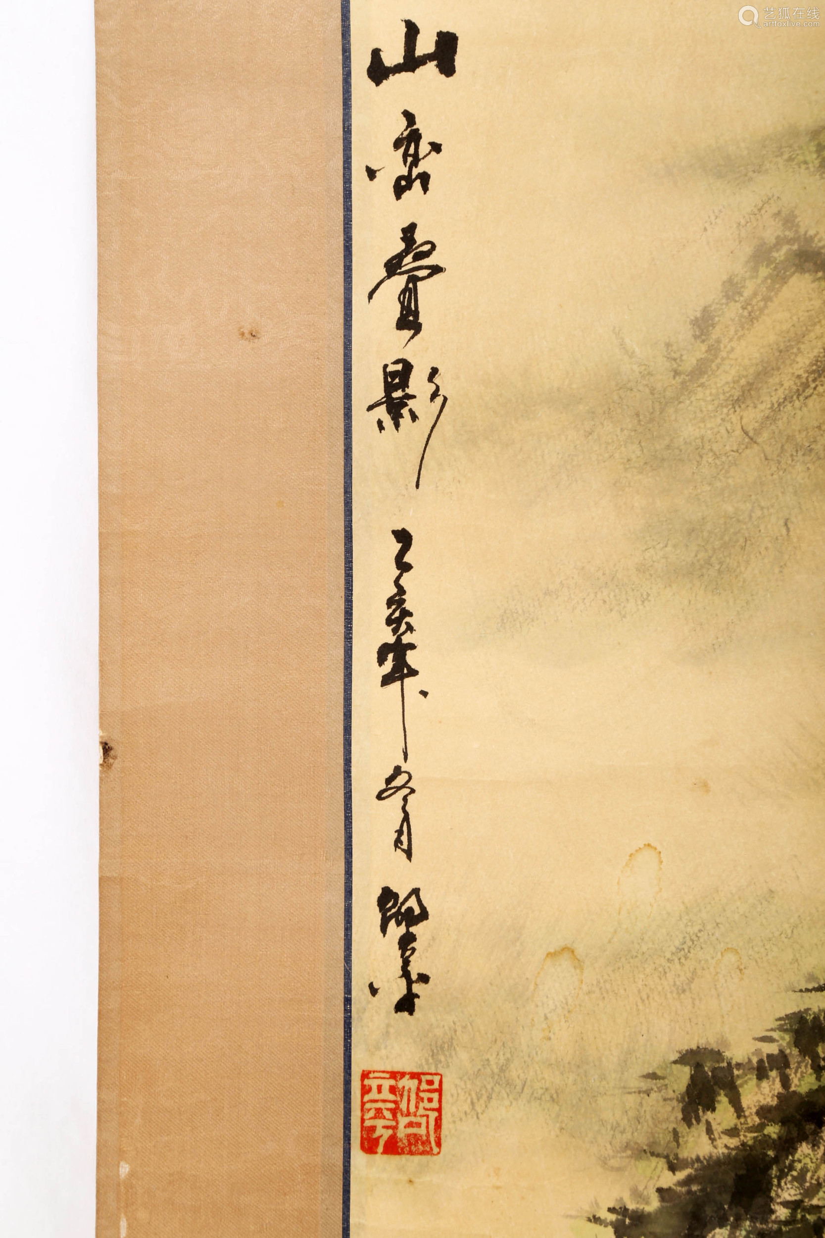 A INK AND COLOR ON PAPER HANGING SCROLL PAINTING.H501.