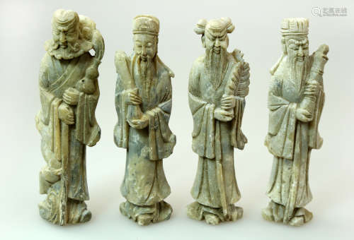 (4) SET OF FOUR FINELY STONE CARVED WITH FOUR