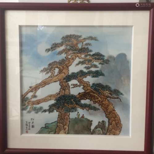 A COLOR `PINE TREE AND MOON` PLAQUE, FRAMED