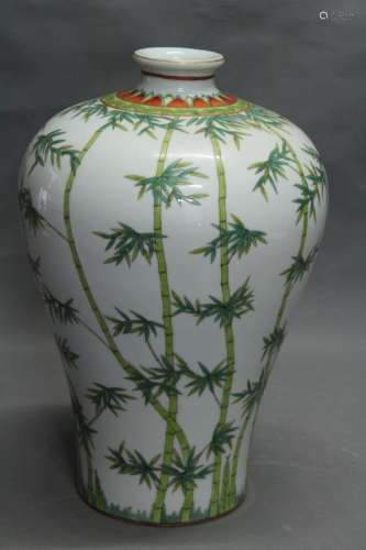 A 'BAMBOO' PAINTED MEIPING VASE