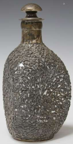 STERLING SILVER OVERLAY DECANTER, 9