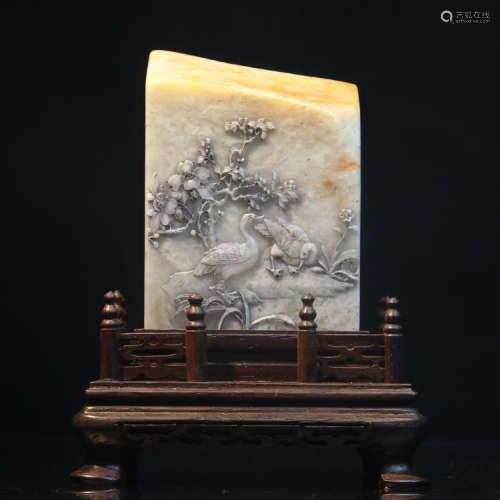"""寿山石大三通石薄意雕""""春景图""""文房雅印"""
