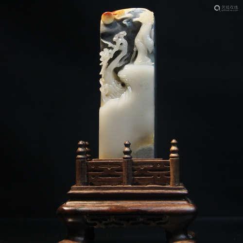 """寿山石巧色老性三彩高山石高浮雕""""登高望远""""文房雅印"""
