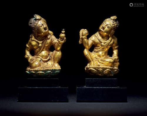 唐 铜鎏金人物像 (一对)